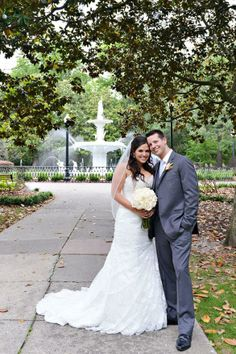 Bride and groom outside at the Mansion on Forsyth Park in Savannah, GA.