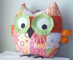 Medium Patchwork Owl Pillow Stuffed Toy for Baby Girl - Pretty in Pink  from: angiebabygifts (at Esty.com)