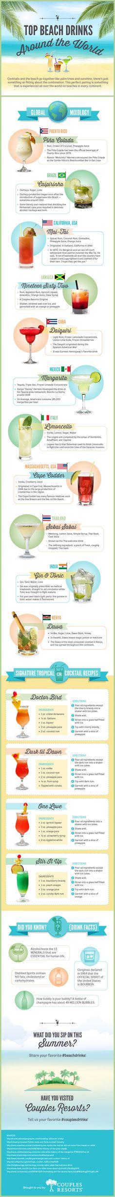 Top Beach Drinks Around the World Infographic for Couples Resorts via IMI. designed by #dezinegirl creative studio 07/14