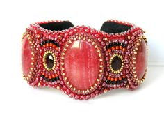 Bead Embroidered Cuff Bracelet Pomegranate wine Red Rhodochrosite ...1500 x 1032 | 368.2KB | www.etsy.com