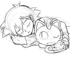 Ash Ketchum and Meowth ^.^ ♡ I give good credit to whoever made this
