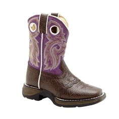 Lil' Durango Kids Girls Purple Faux Leather Saddle Buckaroo Western Cowboy Boots