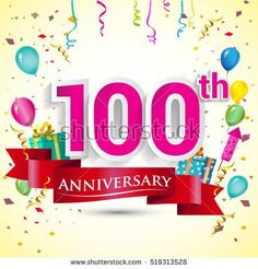 100th Years Anniversary Celebration Design, with gift box and balloons, red ribbon, Colorful Vector template elements for your birthday party.