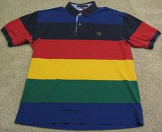d515a93e4 Vintage 90s Tommy Hilfiger Rainbow Polo Shirt Blue Red Yellow Green mens L  M XL