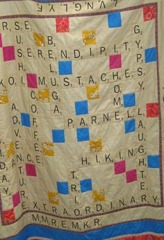 Scrabble quilt?  LOVE! How fun would this be to make as a graduation or wedding present for your favorite word nerd?  Customized with meaningful words, I would wrap up in this every night!
