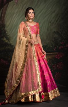Shaded Lehenga with Banarsi with foiled blouse clubbed with Mukaish gold dupatta. Fabric: Heavy Cotton Shaded Lehenga with Banarsi with foiled blouse clubbed with Mukaish gold dupatta. Indian Gowns Dresses, Indian Fashion Dresses, Dress Indian Style, Indian Designer Outfits, Designer Clothing, Indian Outfits Modern, Indian Dresses Traditional, Traditional Wedding, Traditional Outfits