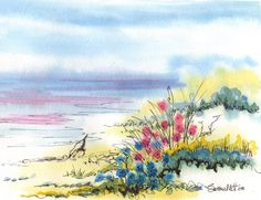 Watercolor and ink: an all-time favorite pairing of mine. Watercolour Flowers, Watercolor Sunset, Watercolor Pictures, Watercolor Landscape, Watercolor And Ink, Watercolor Illustration, Watercolour Painting, Beach Sketches, Seascape Art