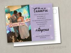 Wedding Disney Thank You Photo Card Reception Table Thank You Menu Notes Photo Magnets Postcards Cards Modern Country Elegant Anita by SAEdesignstudio on Etsy https://www.etsy.com/listing/487834439/wedding-disney-thank-you-photo-card