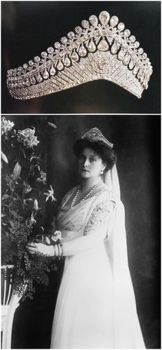 Above: Tiara in the form of a Russian kokoshnik, dating to the early 19th century. It originally belonged to Empress Elizaveta Alekseevna, the wife of Tsar Alexander I. Image via Pinterest. Below: Photograph of Empress Alexandra Fyodorovna wearing the tiara, 1910s. Image via Wikimedia Commons. CLICK FOR LARGER IMAGES.
