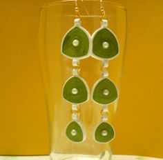 Green and white hanging earrings Hanging Earrings, Drop Earrings, Wind Chimes, Outdoor Decor, Green, Home Decor, Homemade Home Decor, Decoration Home, Chandelier Earrings