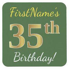 Green Faux Gold 35th Birthday  Custom Name Square Paper Coaster - birthday diy gift present custom ideas
