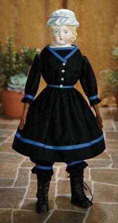 A Matter of Circumstance: 91 German Bisque Doll with Sculpted Blue Charlotte Cap, 998, by Alt, Beck and Gottschalk