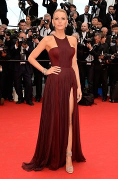 Blake Lively wore a Gucci Premiere bordeaux silk chiffon dress during the opening ceremony of the 2014 Cannes Film Festival.