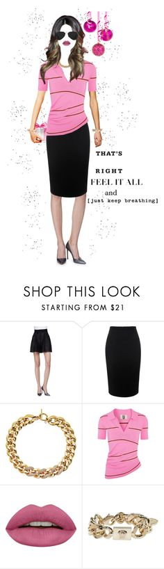 """""""Office Holiday Party. (literally in the office during work hours no afterhours)"""" by shellygregory ❤ liked on Polyvore featuring Lela Rose, Alexander McQueen, Michael Kors, Topshop Unique, Ray-Ban, Huda Beauty, Versace, pinkforever, officeparty and holidayofficeparty"""