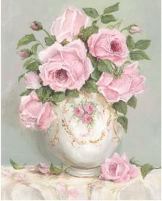 PRINT ON PAPER - Late Summer Roses - FREE  Shipping WORLD WIDE