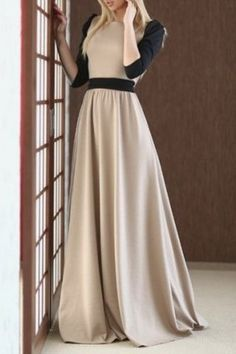 Charming Round Collar Color Block Half Sleeve Maxi Dress For WomenMaxi Dresses | RoseGal.com