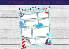 Nautical First Birthday Time Capsule, Printable 1st Birthday Time | by Pretty Printables Ink on Etsy. Capture fun memories for your child to look back on with our first birthday time capsule! We can customize the age, name and questions; all you do is print and have family, friends and birthday guests fill them out! #firstbirthdaytimecapsule #firstbirthdayparty #firstbirthdaypartyideas #nauticalbirthday #nauticalfirstbirthday #oceanbirthday #undertheseabirthday #birthdaywishes #memorybook Kids Birthday Party Invitations, First Birthday Parties, Birthday Party Themes, Boy Birthday, Birthday Wishes, First Birthdays, Baby Memories, Party Activities, Digital Invitations