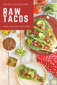Raw tacos are so easy to put together & healthy too. A deliciously flavorful way to celebrate Taco Tuesday. This vegan and gluten-free recipe uses walnuts for the taco meat. It's served on romaine lettuce & topped with your favorite toppings like tomatoes and avocado. #veganrecipe #rawrecipes #vegantaco Raw Food Recipes, Dinner Recipes, Healthy Recipes, Holiday Recipes, Vegetable Prep, Taco Fillings, Make Ahead Lunches, A Food, Vegan Food