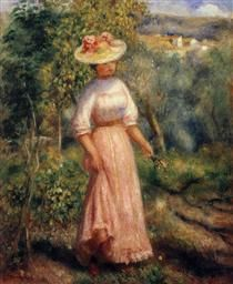 Young Woman in Red in the Fields - Pierre-Auguste Renoir