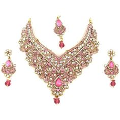 Mogul Interior India Wedding Jewelry Sets- Pink Polki Imitation... ($100) ❤ liked on Polyvore featuring jewelry, earrings, necklaces, wedding jewelry, indian bridal jewellery, dangle charms, charm jewelry and pink jewelry