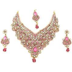 Mogul Interior India Wedding Jewelry Sets- Pink Polki Imitation... (€89) ❤ liked…
