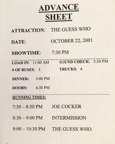 The Guess Who with Joe Cocker advance sheet LA. 2001