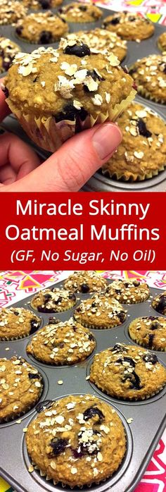 My favorite healthy muffin! These gluten-free blueberry oatmeal muffins are a true miracle!