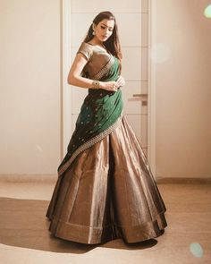 Just Wow Take this Beautiful hit Design lehengaonly at (NO LESS) . For buy plz DM (insta msg)/ WhatsA. Kerala Saree Blouse Designs, Half Saree Designs, Choli Designs, Lehenga Saree Design, Half Saree Lehenga, Lehenga Designs, Indian Dress Up, Indian Gowns Dresses, Indian Wear