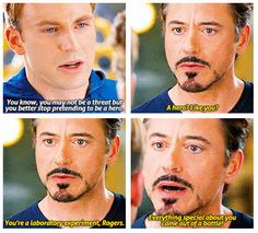 Biggest lie ever! The things that make Steve special did not come from a bottle! He had virtue and chivalry, sacrificial love and humility. That's what makes him special! Things Iron Man severely lacks.
