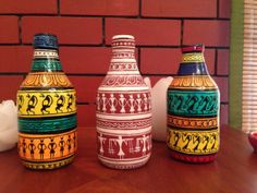 Rainbow In My Bottle Series Hand Painted Rocks, Painted Pots, Painted Bottles, Madhubani Art, Madhubani Painting, Wine Bottle Art, Wine Bottle Crafts, Bohemian Crafts, Rajasthani Art