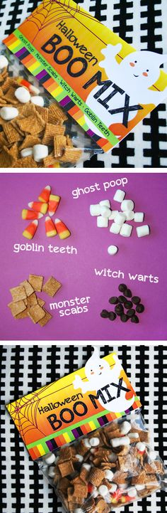 Halloween Boo Mix Recipe and Free Printable Bag Topper Easy Halloween Boo Mix recipe for your Halloween party. Perfect idea for class parties and for trick-or-treaters. Includes a FREE printable bag topper. Halloween Treats For Kids, Halloween Bags, Halloween Goodies, Easy Halloween, Holidays Halloween, Holiday Treats, Halloween Crafts, Holiday Fun, Halloween Party