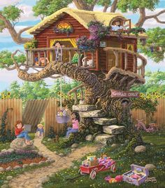 Girls Clubhouse (300 Large Piece Puzzle by SunsOut)