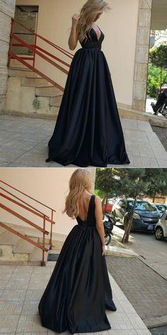 V Neck Black Prom Dress Maxi Dress