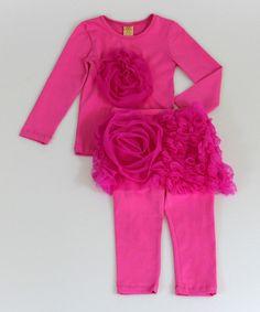 This Fuchsia Rosette Tee & Skirted Leggings - Toddler & Girls is perfect! #zulilyfinds