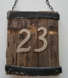 Upcycled House Number Sign