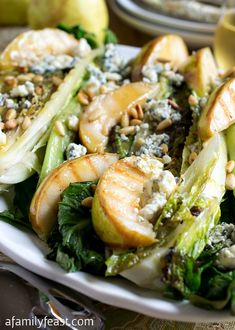 Grilled Romaine Hearts with Pears and Bleu Cheese | www.afamilyfeast.com | An incredible salad that will make your tastebuds dance!
