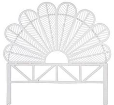 Hirst Rattan Petal Open Frame Headboard Bungalow Rose Size: Twin, Color: White