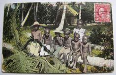 Children in Puerto Rico  - Vintage Postcard circa1909.