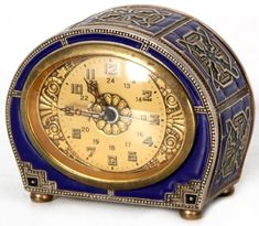 Clocks – Decor : Deco Enamel Alarm Clock – Antique Clocks -Read More – Art Nouveau, Clock Antique, Vintage Clocks, Antique Decor, Bleu Cobalt, Louis Comfort Tiffany, Father Time, Cool Clocks, Grandfather Clock