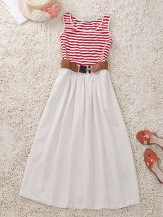 Sleeveless Striped Cotton Dress