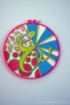 embroidery hoop art with paint pens