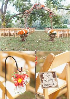 rustic outdoor wedding ceremony #rusticwedding #outdoorwedding #weddingchicks http://www.weddingchicks.com/2014/02/07/red-and-orange-fall-wedding/