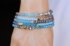 Beachy 5x blu bracciale collana x 2