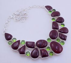 free shipping F-174 Stunning Maroon Jasper - Peridot .925 Silver Handmade Jewelry Necklace by SILVERHUT on Etsy