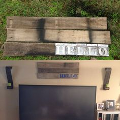 boards from a pallet letters from hobby lobby and spray paint