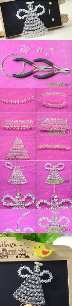 How to Make Crystal Clear Beaded Christmas Angel Ornaments. This tutorial will show you how to make beaded angel ornaments, keep reading and DIY your own beaded Christmas angels later.