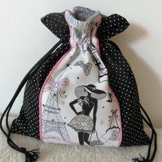 """Sac pour lingerie """"la parisienne"""" N°8 rétro chic en noir rose et gris : Textiles et tapis par nymeria-creation"""