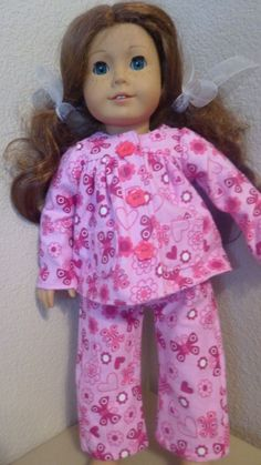 American Girl doll or any 18 inch doll. 2PC.Light/Dark Pink Flannel Pajama St.