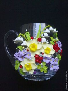 Кухня ручной работы. Ярмарка Мастеров - ручная работа. Купить Любимая чашка. Handmade. Кружка, цветы, ландыши, подарки, стекло