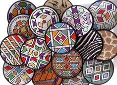 African embroidery Ndebele design style on coasters style, individually handmade in KwaZulu-Natal using a very simple sewing machine with an embroidery attachment.